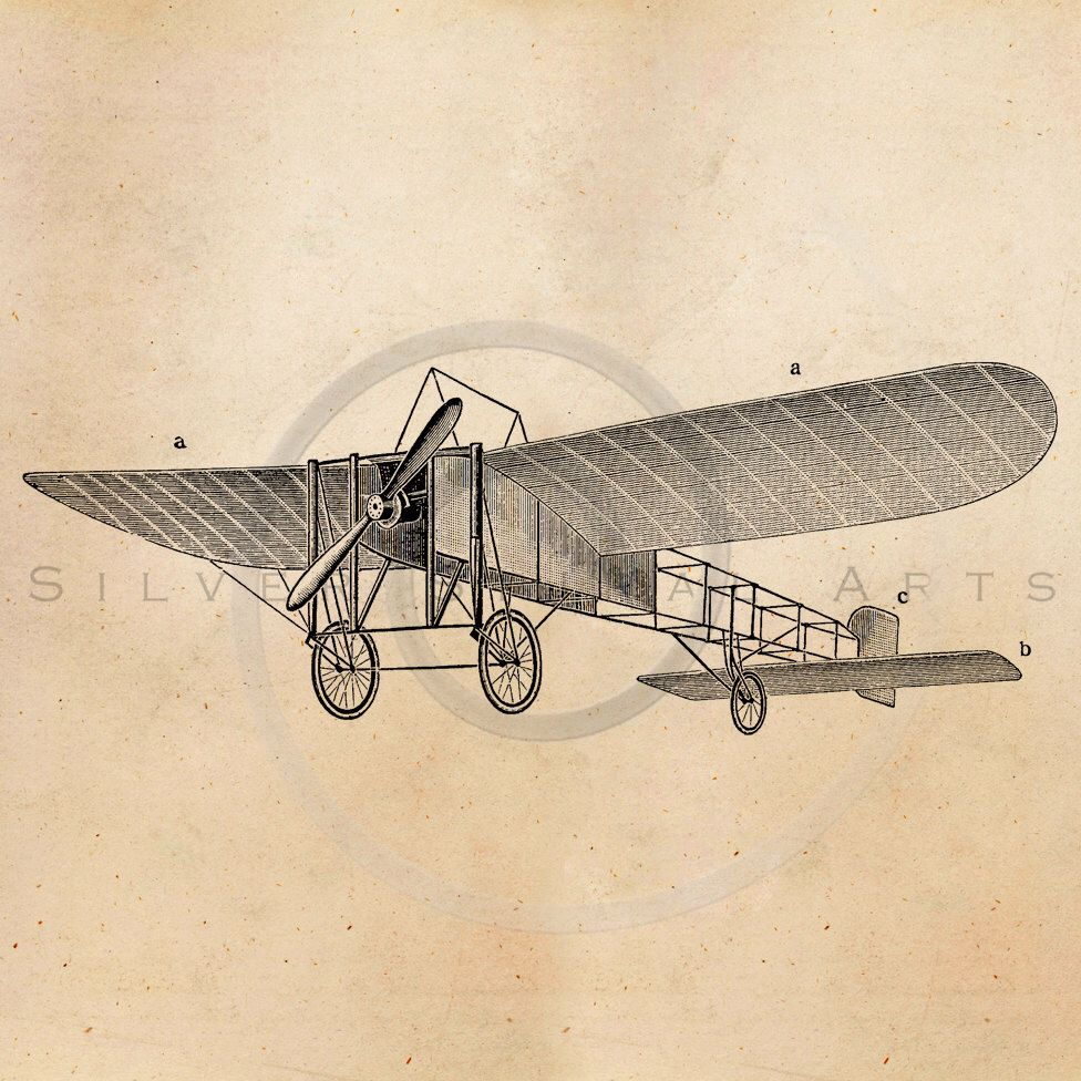 976x976 Vintage Plane Illustration Printable 1900s Aircraft Antique Print