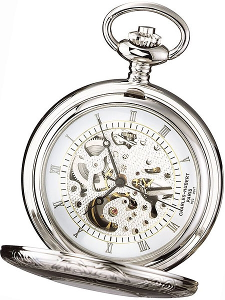450x600 Charles Hubert Mechanical Silver Tone Pocket Watch With Engraved