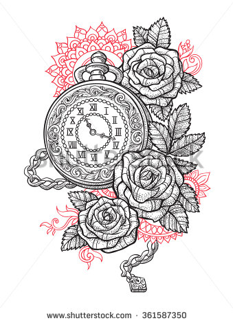 339x470 Vintage Pocket Watch With A Pattern In Roses And Ornaments