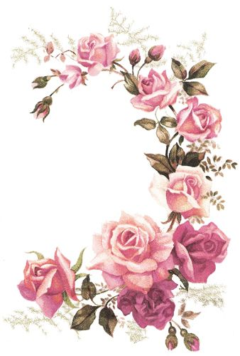 Vintage rose drawing at getdrawings free for personal use xl pink tea rose corner swags shabby waterslide decals mightylinksfo Choice Image