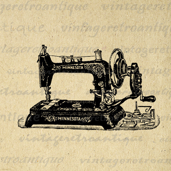 570x570 Digital Printable Antique Sewing Machine Graphic Illustration
