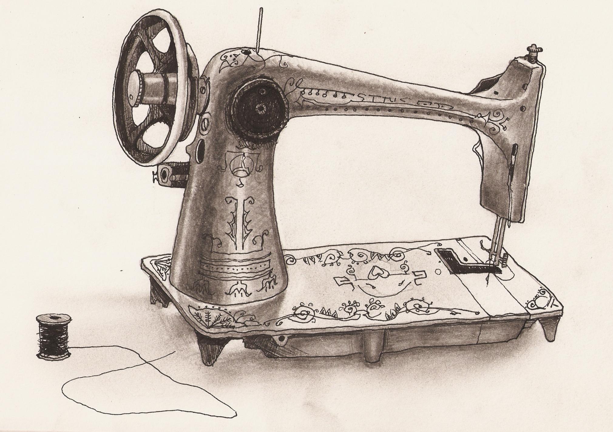 2020x1425 Singer Sewing Machine Drawing Vintage Clip Art