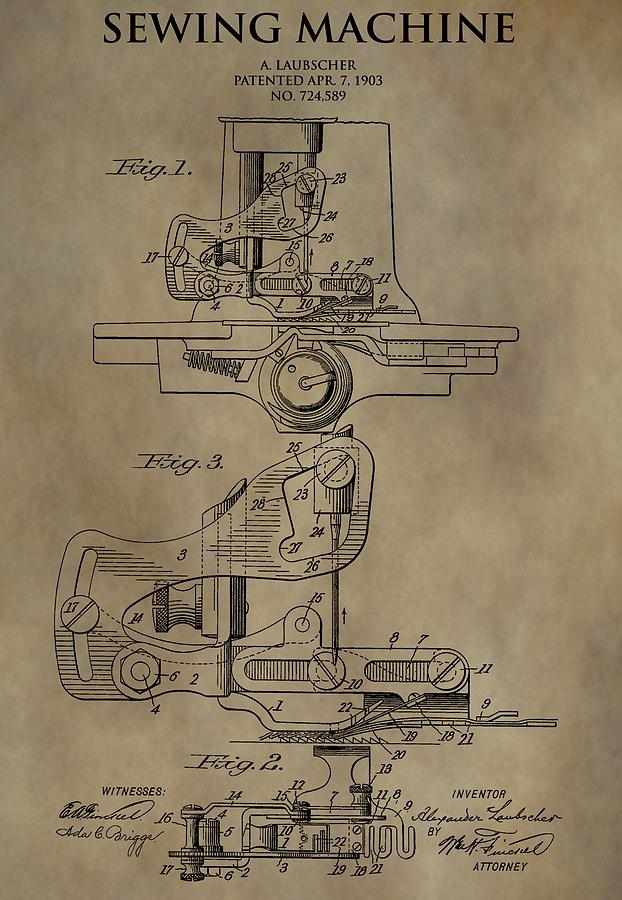 622x900 Vintage Sewing Machine Patent Drawing By Dan Sproul
