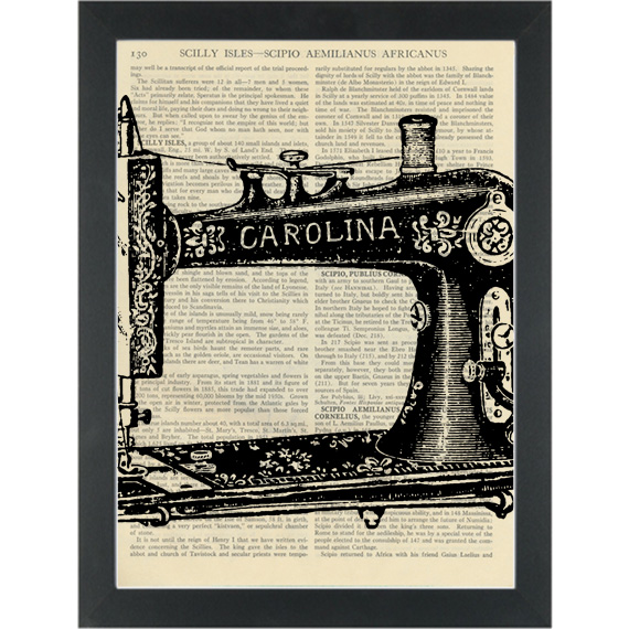 570x570 Vintage Sewing Machine Drawing Dictionary Art Print Page Turner