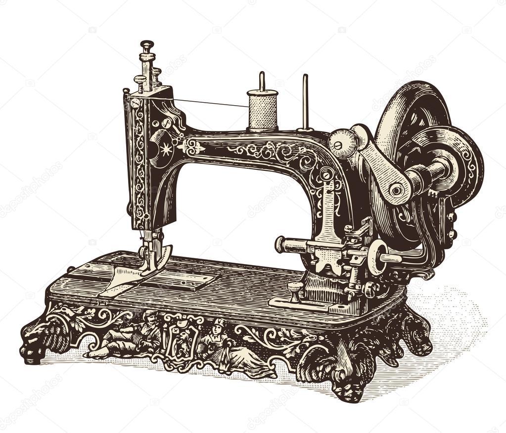 1023x877 Vintage Sewing Machine Stock Vector Studio Accanto
