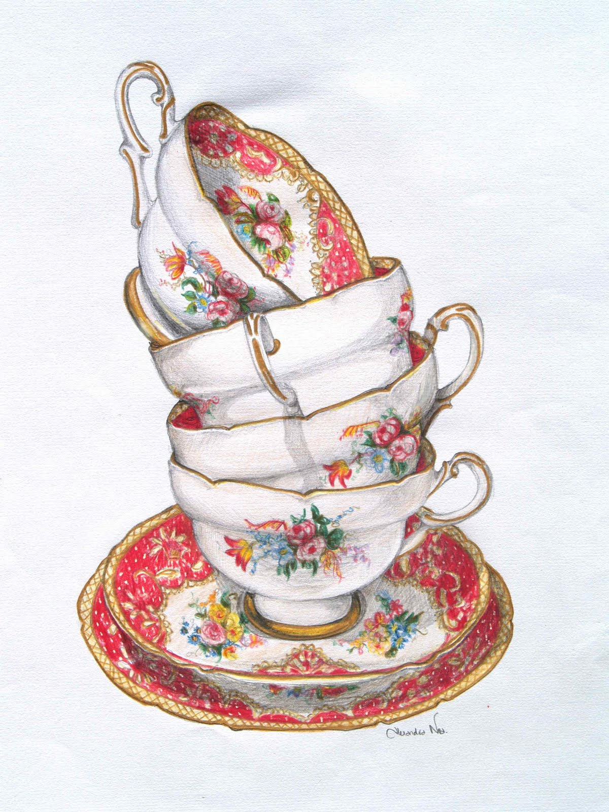 1200x1600 Victorian Floral Teacups 100% Cotton Flour Sack Dish Towel Tea