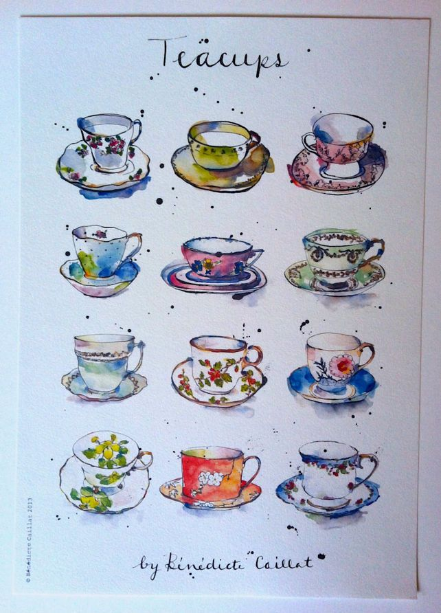 642x892 Vintage Teacups Art Print From Original Ink And Watercolour