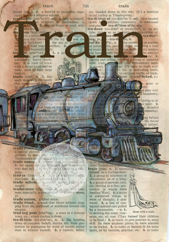 570x817 Print Vintage Train Mixed Media Drawing On Distressed, Dictionary