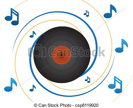 450x367 Vinyl Record And Notes. Spinning Vinyl Record With Notes Vector
