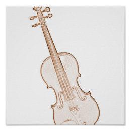 260x260 Violin Drawing Posters Zazzle