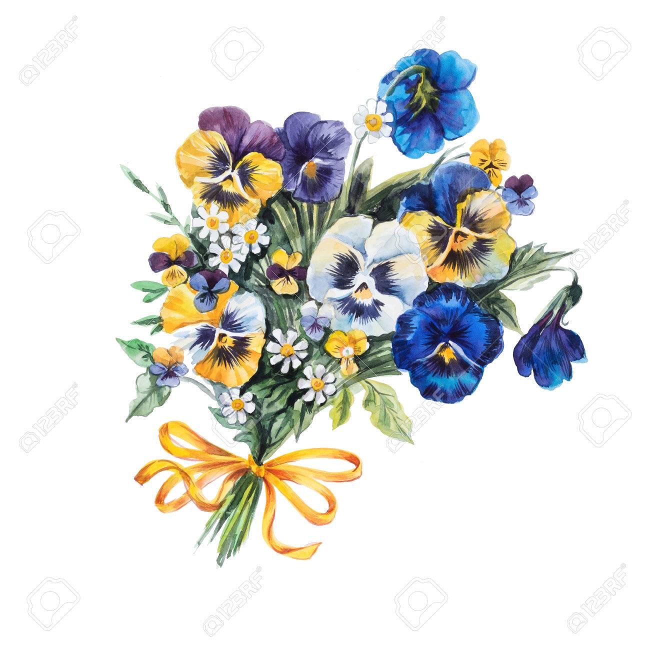 1300x1292 Bouquet Of Violets. Violets Background, Watercolor Composition