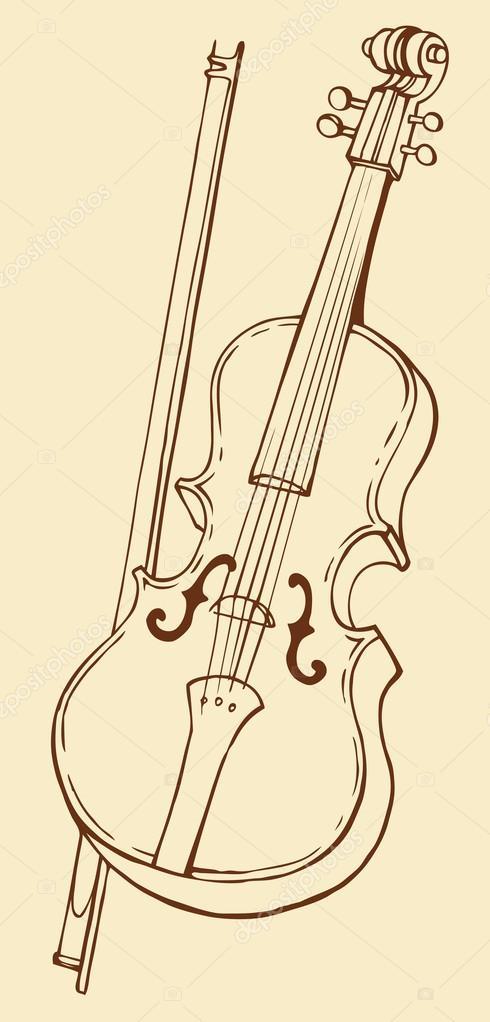490x1022 Vector Line Drawing Of A Violin And Bow Stock Vector Marinka