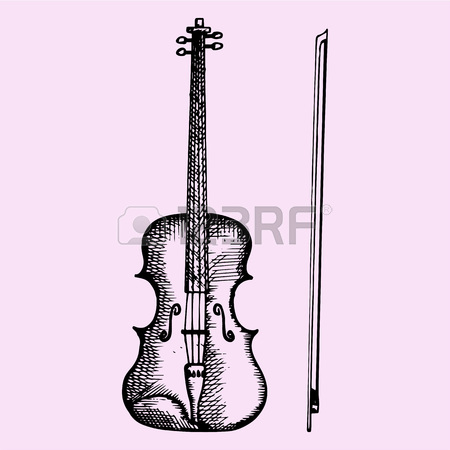 450x450 Vintage Fiddle. Hand Drawn Retro The Violin And Flowers. Vector