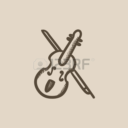 450x450 Violin With Bow Vector Sketch Icon Isolated On Background. Hand