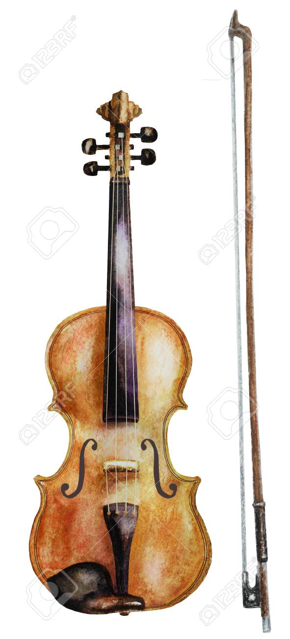 591x1300 Watercolor Violin And Bow Isolated On White. Watercolor Drawing