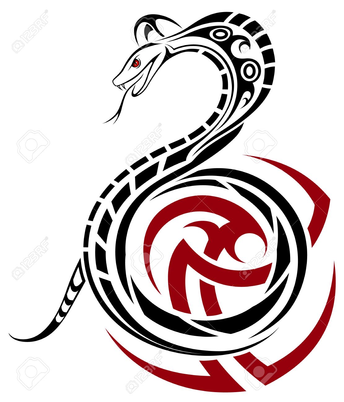 1111x1300 Snake, Cobra In The Form Of A Tribal Tattoo Royalty Free Cliparts