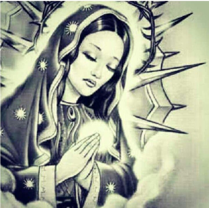 720x717 Praying Virgin Mary Tattoo Design Sample