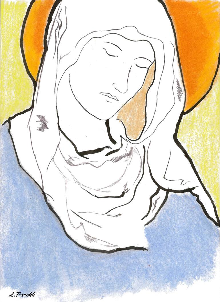 770x1053 Saatchi Art Vierge Marie (Virgin Mary) Drawing By Lolita Parekh