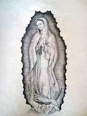334x448 Virgin Mary, Pencil Drawing, Tattoo Sketch Kirillnbb