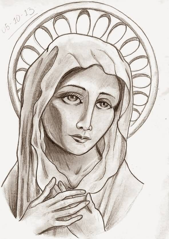 591x834 Virgin Mary Portrait Tattoo Design Renilto Desenhos.