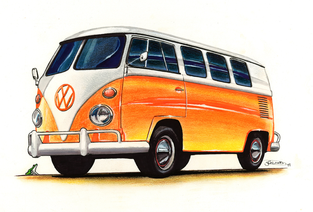 1000x678 VW Campervan Drawing 2011 Pastel Marker Fineliner And GoaEUR Flickr