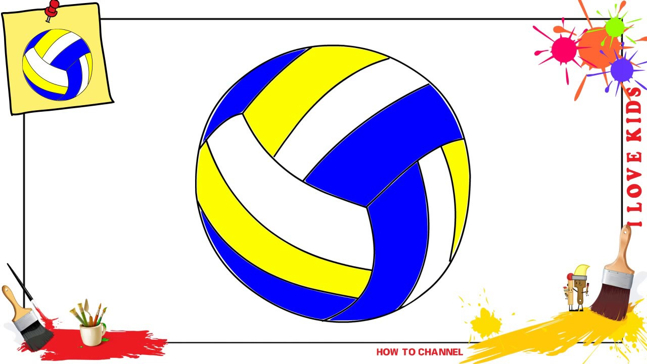 1280x720 How To Draw A Volleyball Easy Amp Slowly Step By Step For Kids