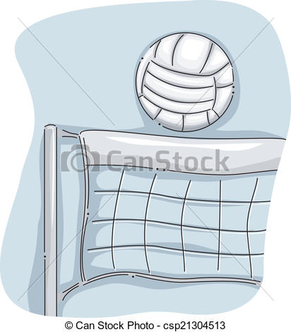 412x470 Volleyball Net. Illustration Featuring A Volleyball Perched