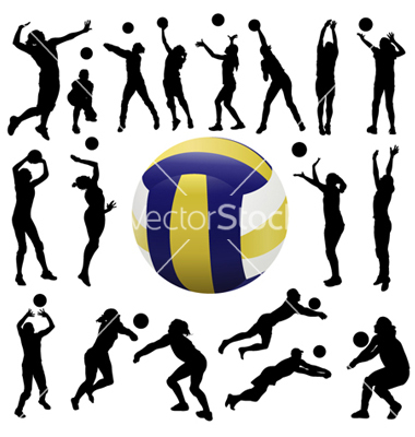 380x400 Volleyball Player Hitting Silhouette Clipart Panda