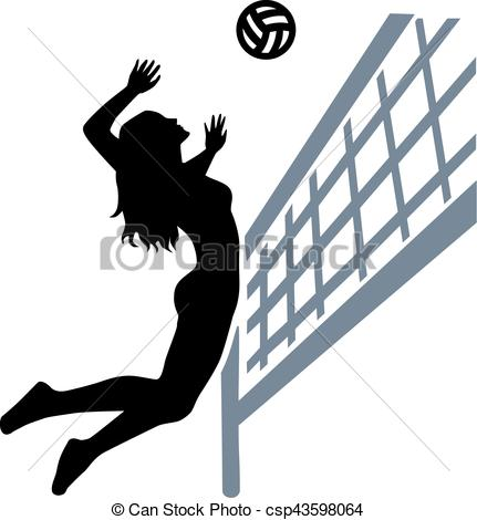 431x470 Volleyball Player Woman Net Clip Art Vector