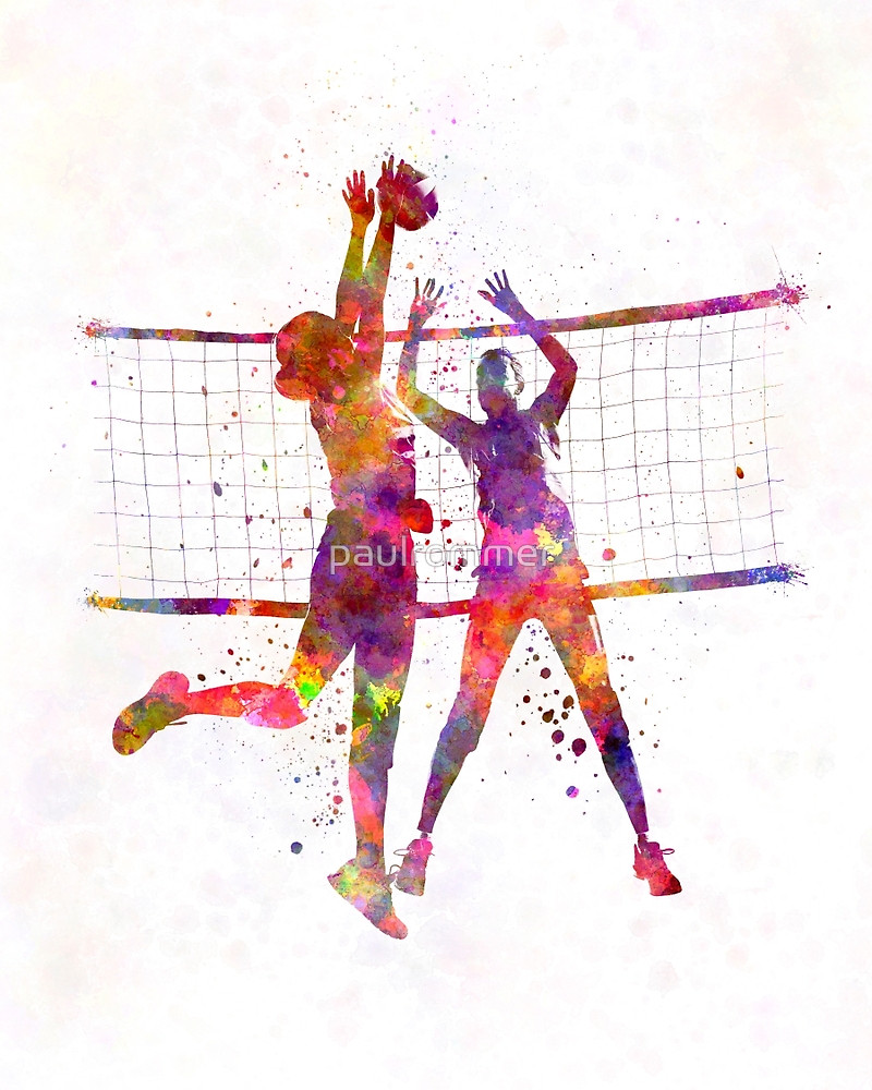 800x1000 Women Volleyball Players In Watercolor By Paulrommer Redbubble