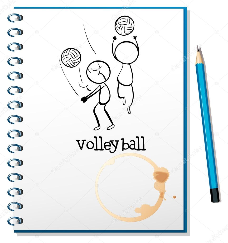 959x1024 A Notebook With A Sketch Of The Volleyball Players Stock Vector