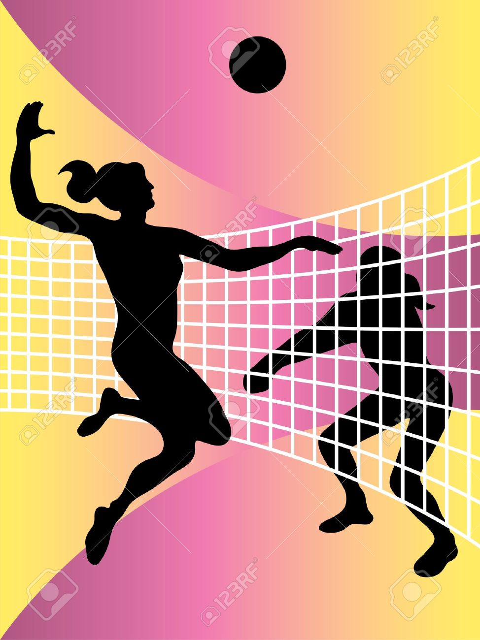 974x1300 Vector Abstract Illustration Of Volleyball Players Royalty Free