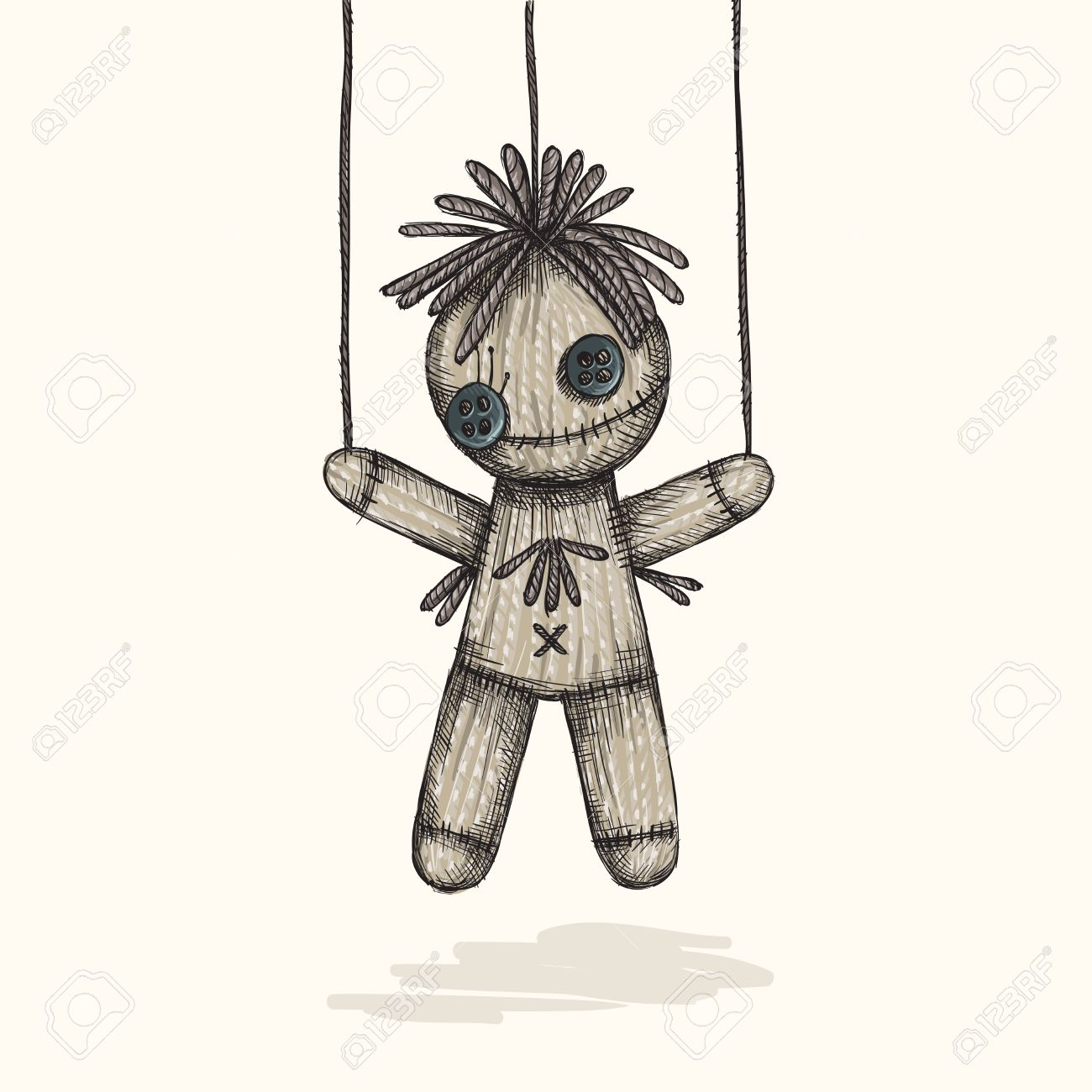 1300x1300 Spooky Voodoo Doll In A Sketch Style Royalty Free Cliparts