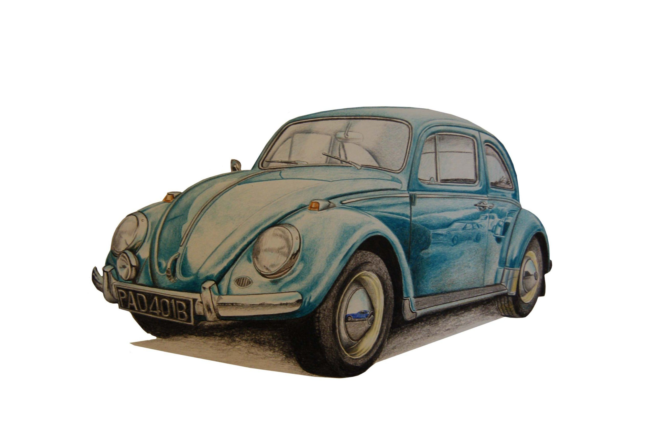 2560x1702 An Original Colour Pencil Drawing Of A 1965 Vw Beetle. Artist