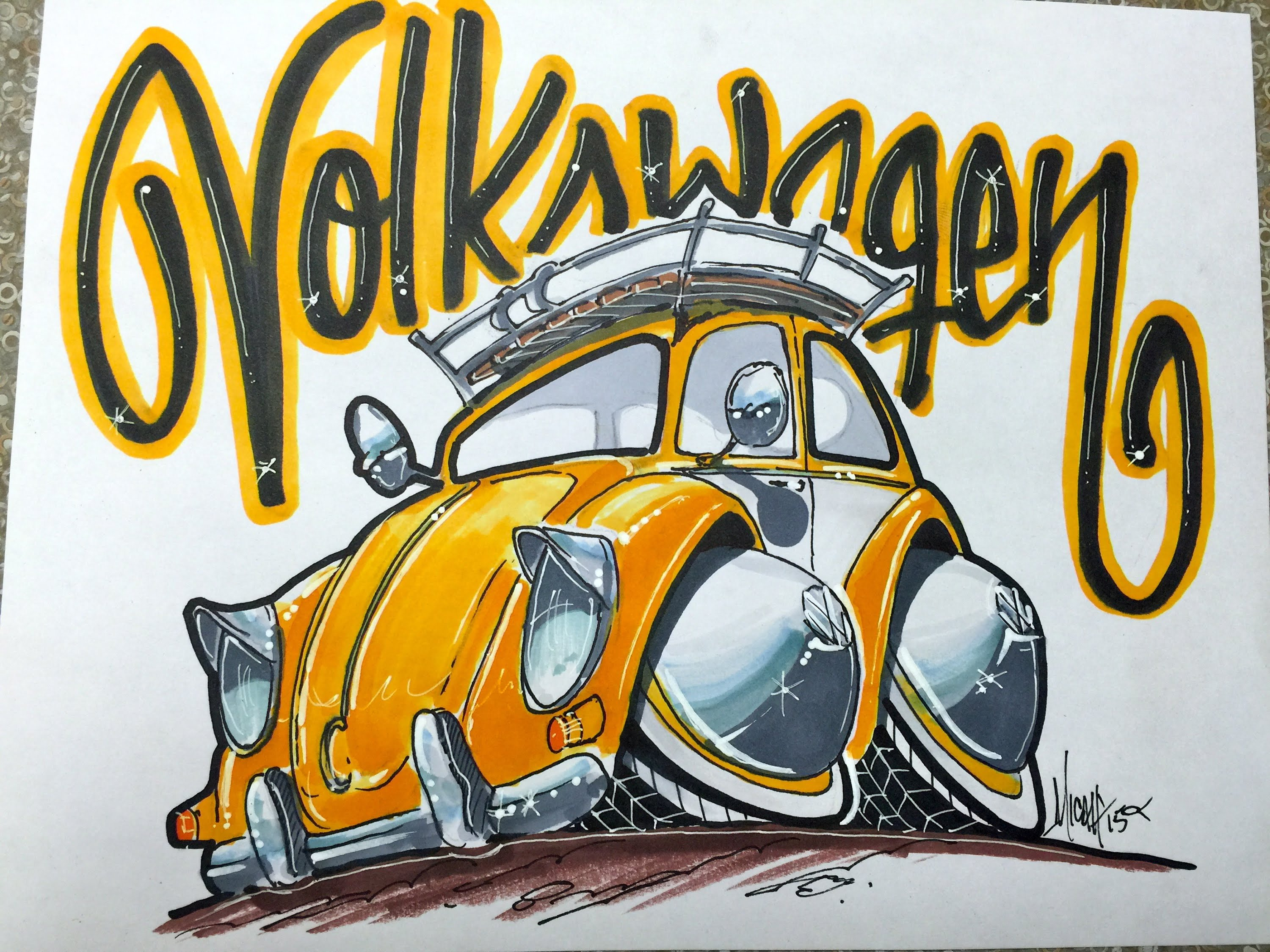 3000x2250 How To Draw A Vw Bug Time Lapse!