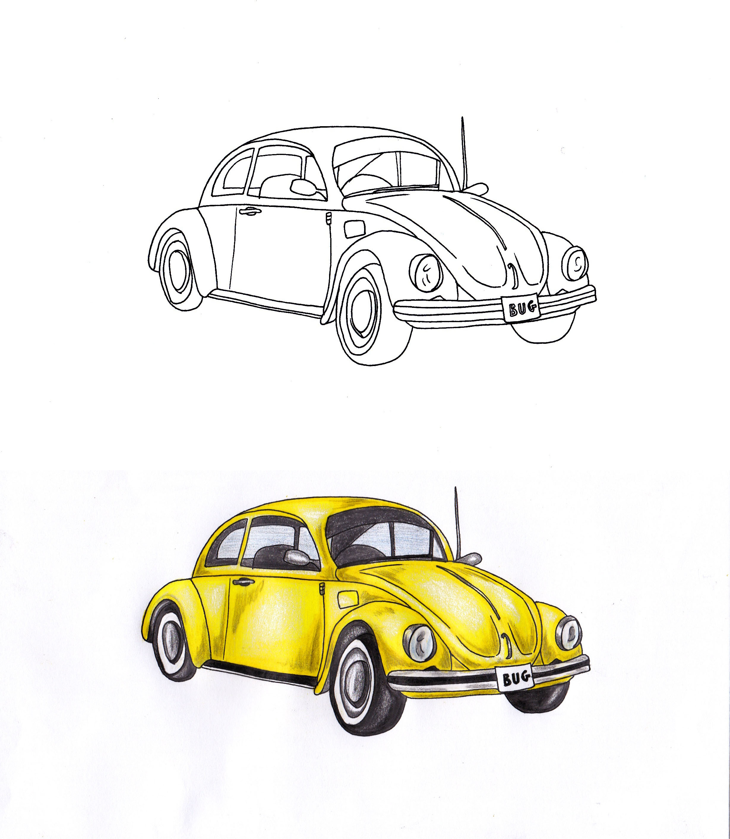 2458x2826 Pencil And Coloured Pencil Crayon Drawing Of My Classic Vw Beetle