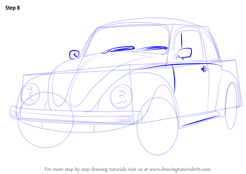 844x598 Learn How To Draw Vintage Volkswagen Beetle (Vintage) Step By Step