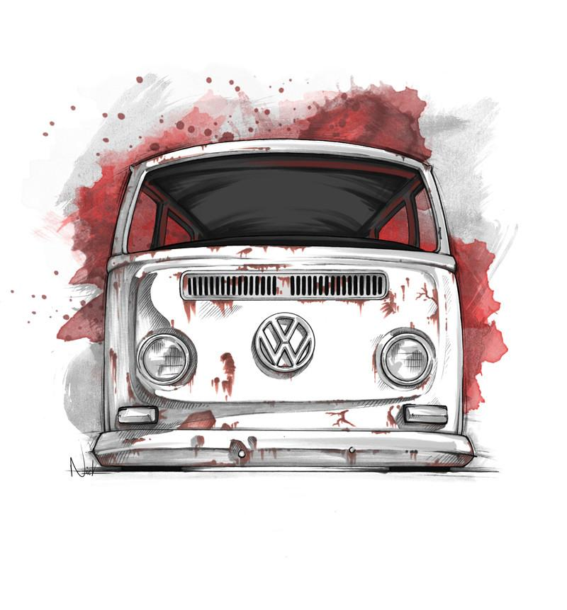 800x862 Vw Bus Drawing Surfacenick