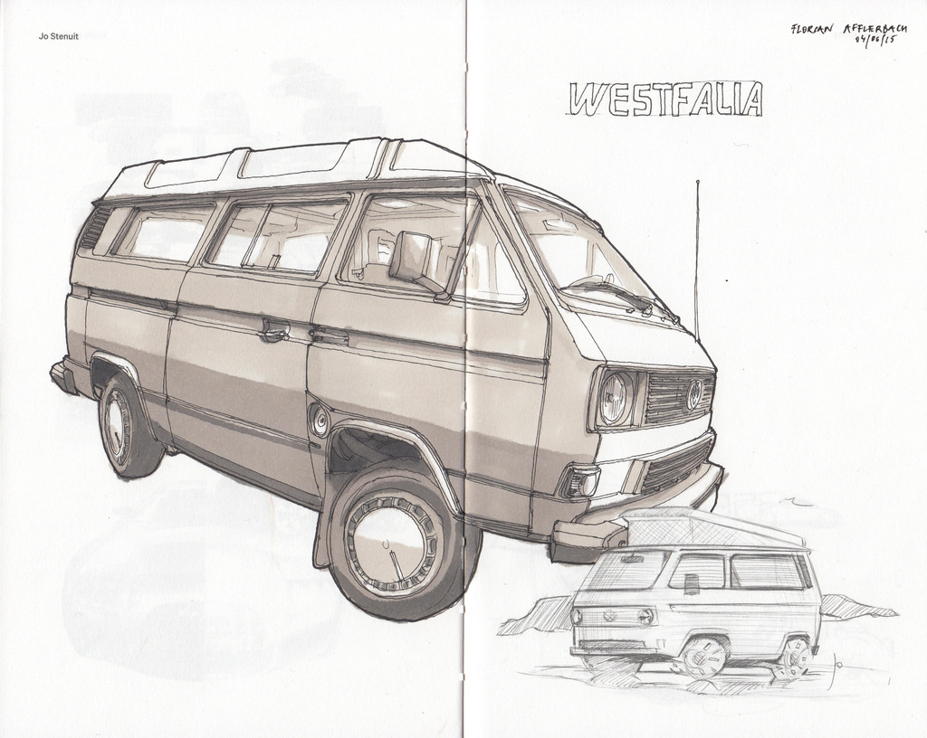1024x816 Vw T3 Westfalia Ink Pen Drawing With Markers Drawn Onto