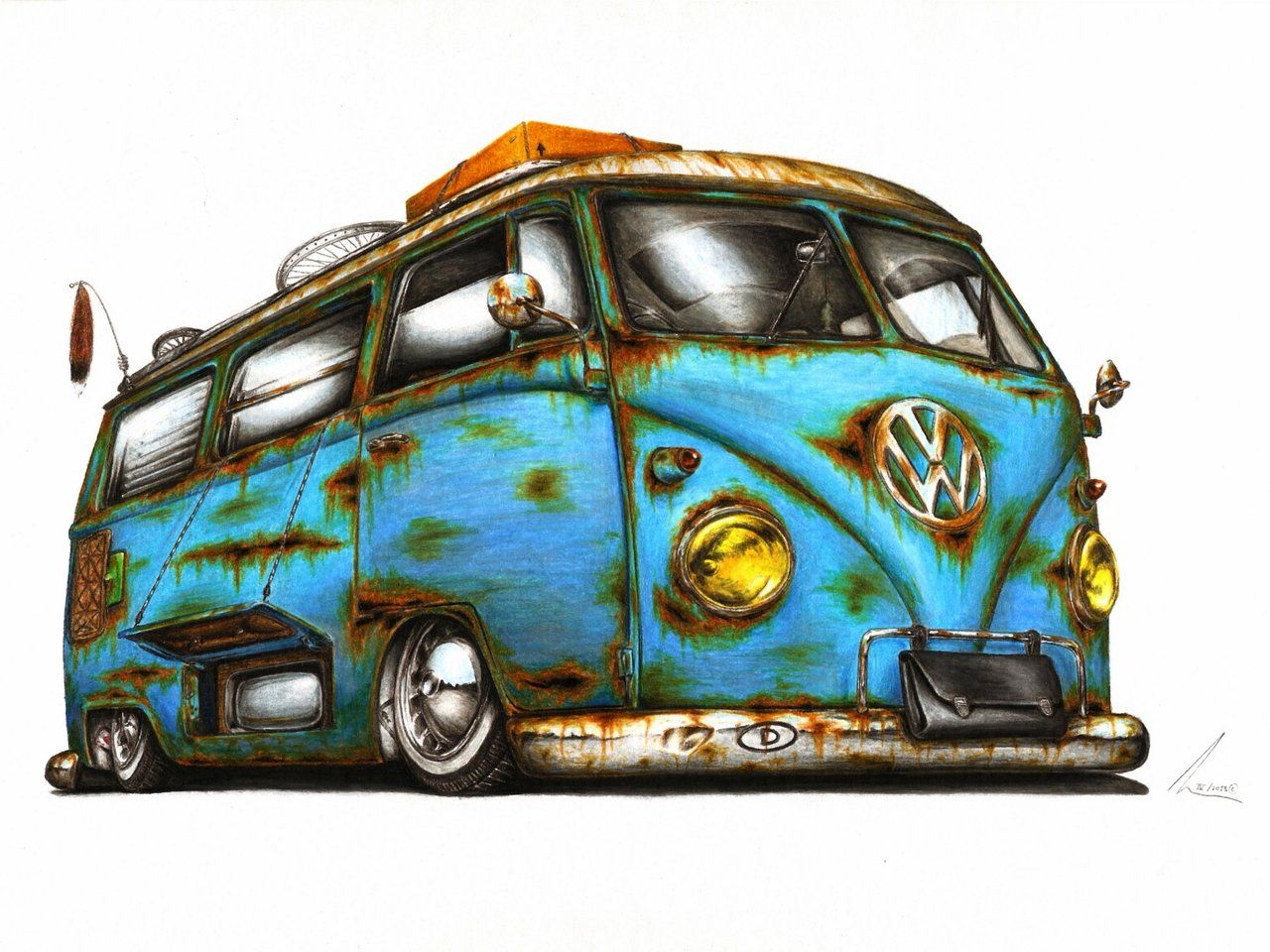 1280x960 Vw Cartoon Art Vw T1 Wake Me Upby Medvezh Volks Vw