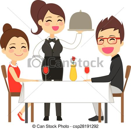450x442 Waitress Serving Restaurant. Happy Waitress Serving On Eps