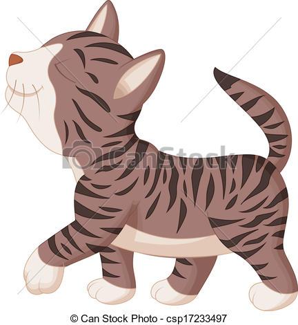 432x470 Vector Illustration Of Cute Cat Cartoon Walking Eps Vectors