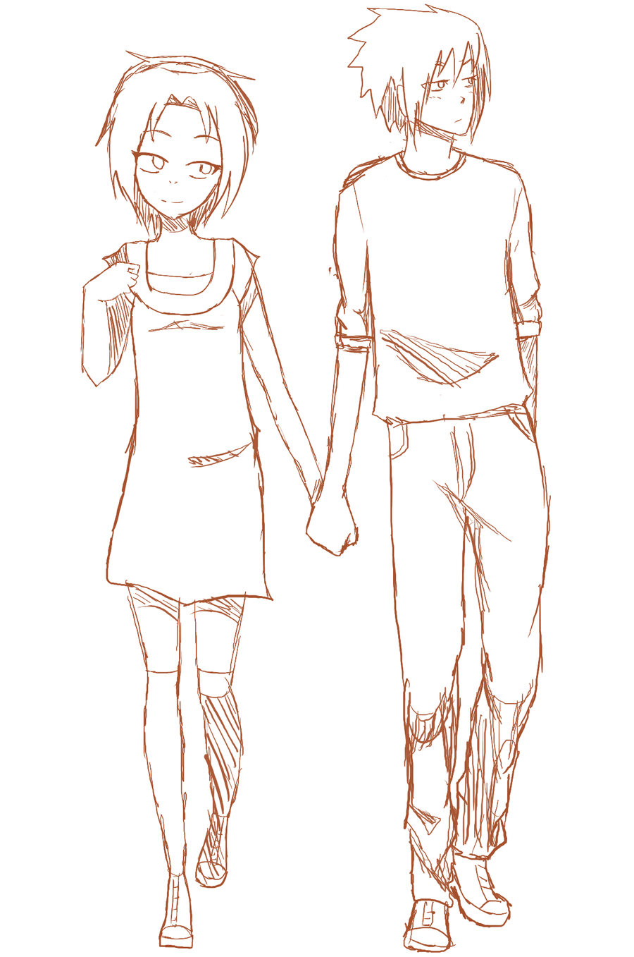 900x1357 Anime Couples Holding Hands And Walking Drawings Pictures Anime