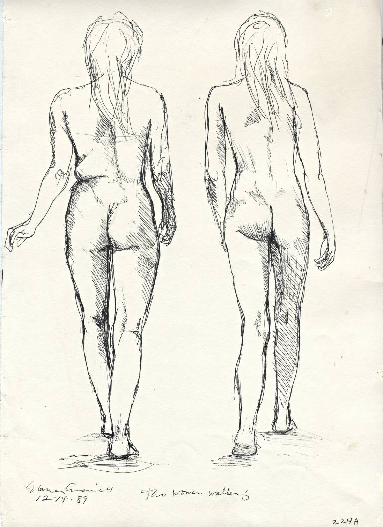 770x1060 Saatchi Art Two Women Walking Drawing By Warren Criswell