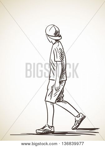 337x470 sketch walking boy cap hand drawn vector amp photo bigstock