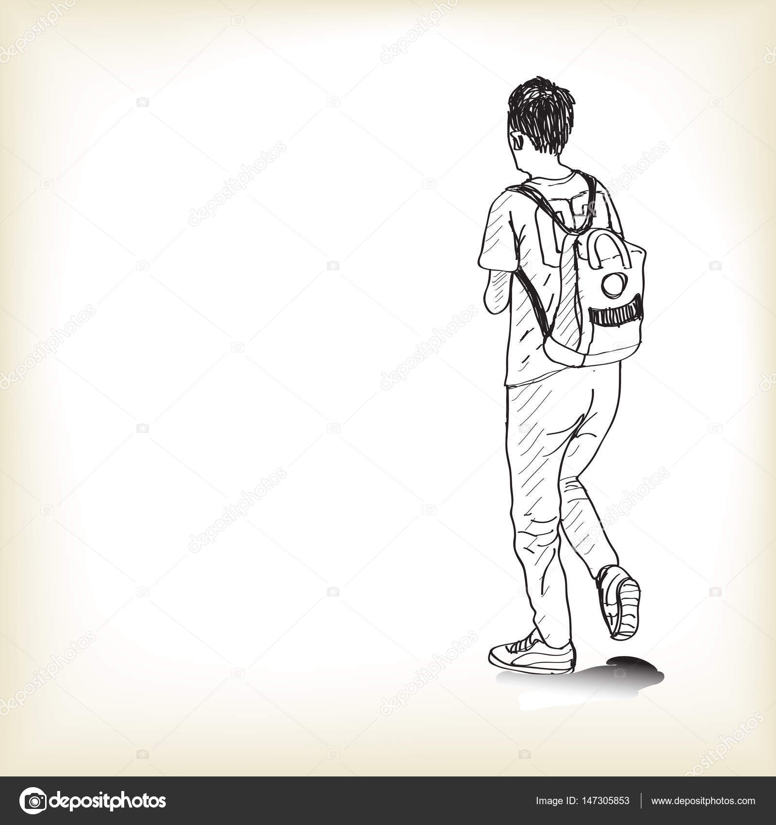 1600x1700 Sketch A Boy Walking With Backpack To School, Free Hand Draw