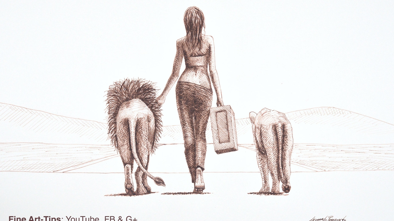1280x720 How To Draw A Woman Walking With Lions With Fountain Pen