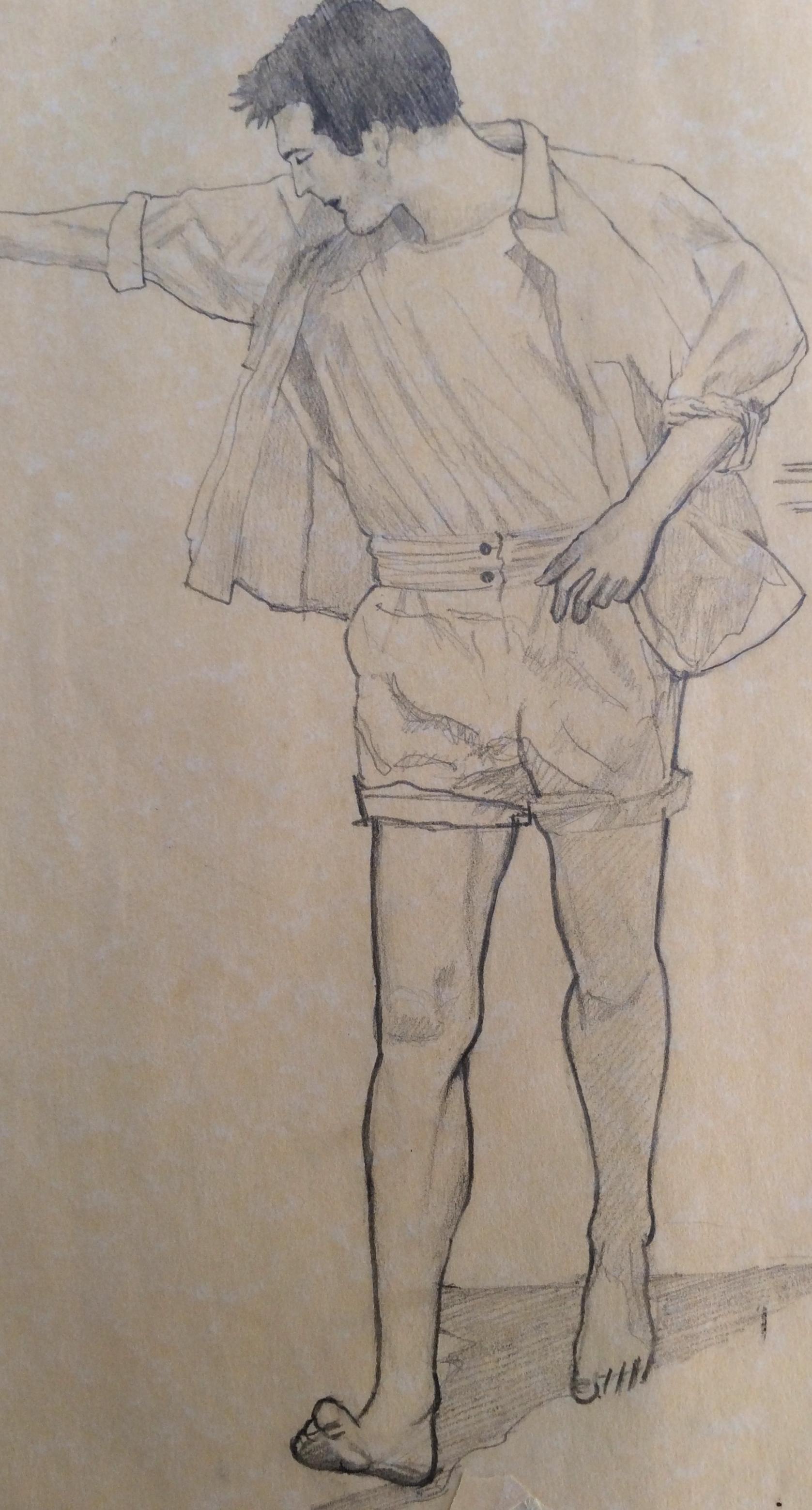 1677x3118 Walking Figure Study. Graphite. Art