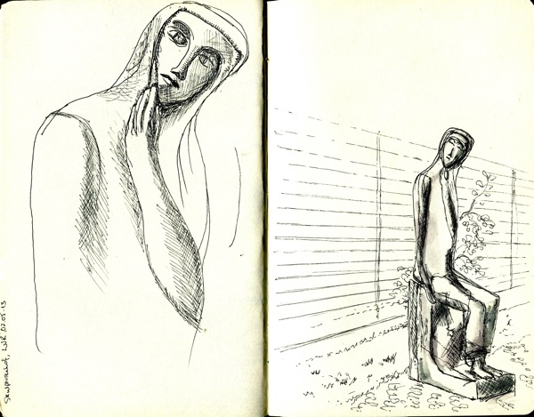 600x469 Figure Drawing Woman Walking Slowly