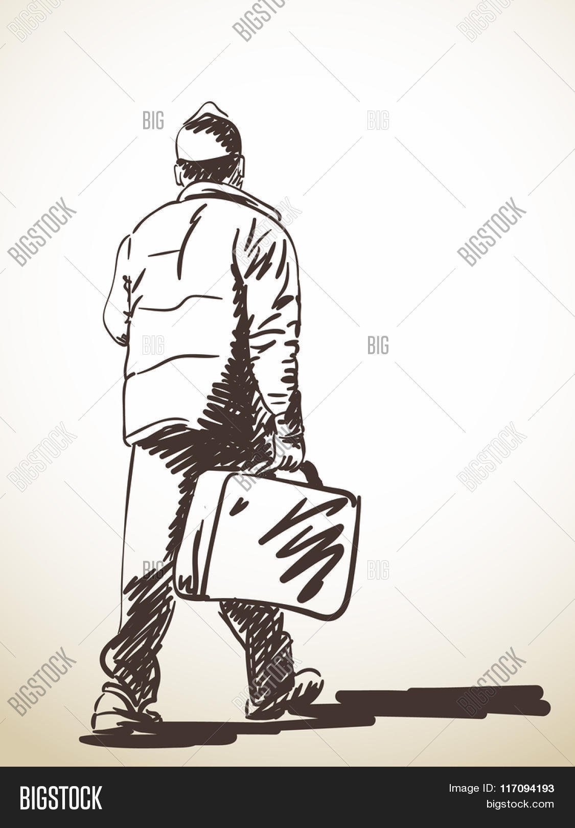 1125x1620 Sketch Walking Man Suitcase, Hand Vector Amp Photo Bigstock